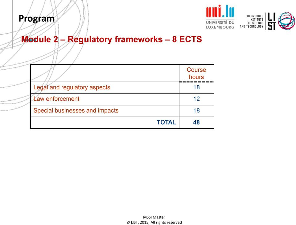 and regulatory aspects 18 Law