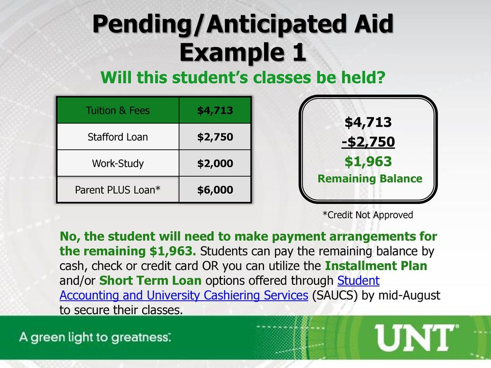 Approved No, the student will need to make payment arrangements for the remaining $1,963.
