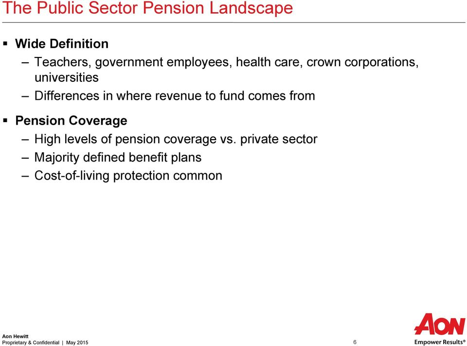 comes from Pension Coverage High levels of pension coverage vs.
