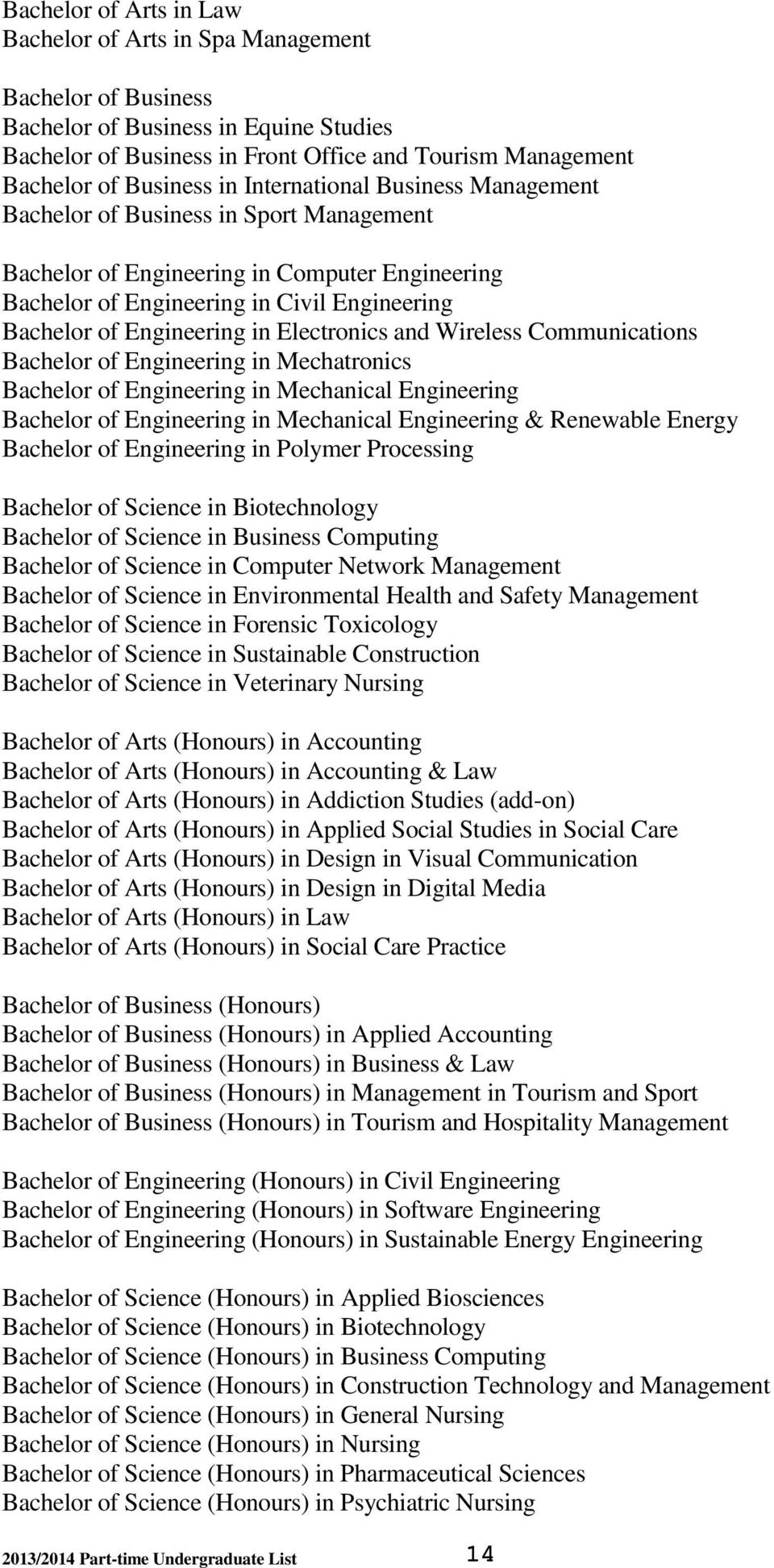 Electronics and Wireless Communications Bachelor of Engineering in Mechatronics Bachelor of Engineering in Mechanical Engineering Bachelor of Engineering in Mechanical Engineering & Renewable Energy