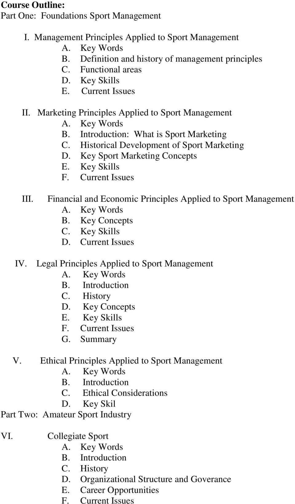 Key Skills F. Current Issues IV. III. Financial and Economic Principles Applied to Sport Management B. Key Concepts C. Key Skills D. Current Issues Legal Principles Applied to Sport Management B.