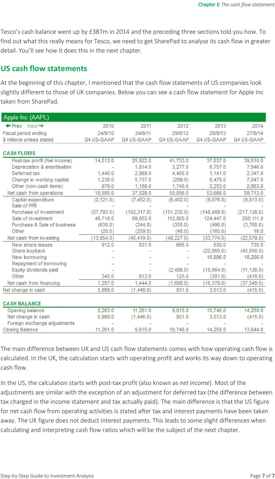 US cash flow statements At the beginning of this chapter, I mentioned that the cash flow statements of US companies look slightly different to those of UK companies.