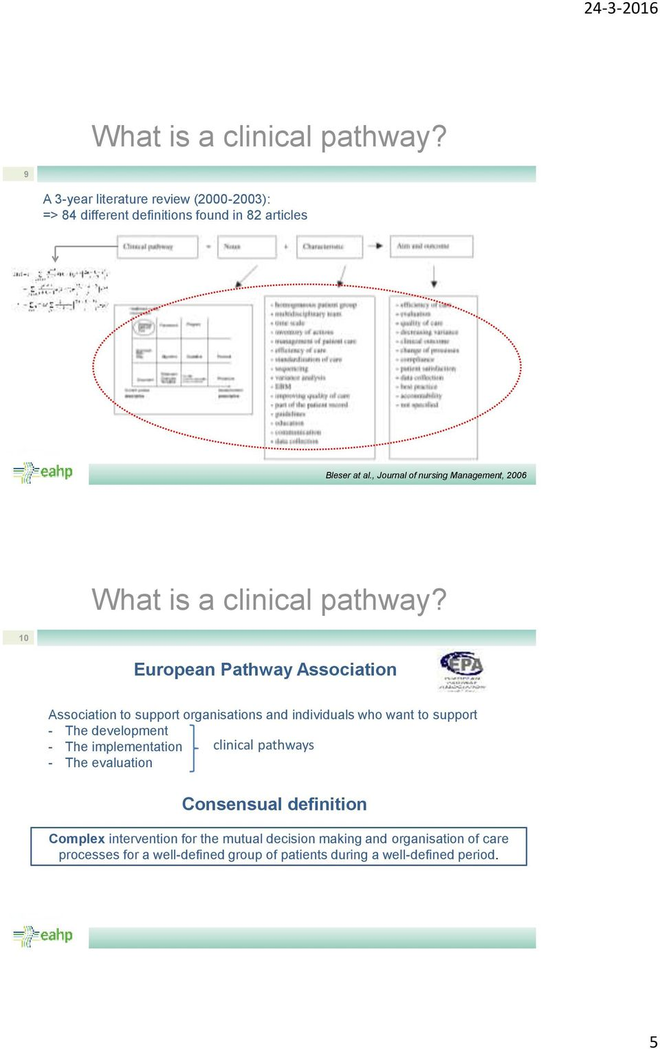 10 European Pathway Association Association to support organisations and individuals who want to support - The development - The