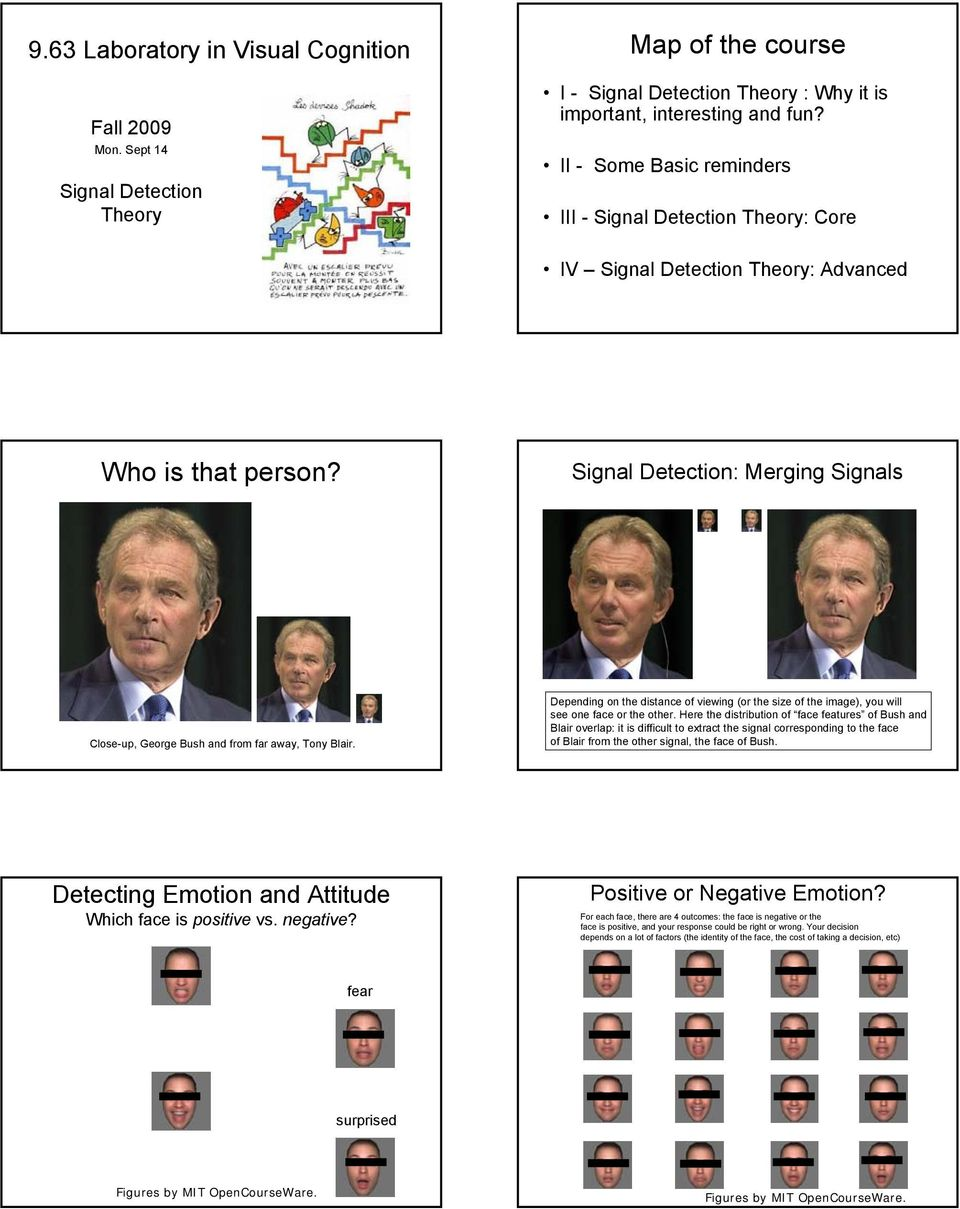 Signal Detection: Merging Signals Close-up, George Bush and from far away, Tony Blair. Depending on the distance of viewing (or the size of the image), you will see one face or the other.