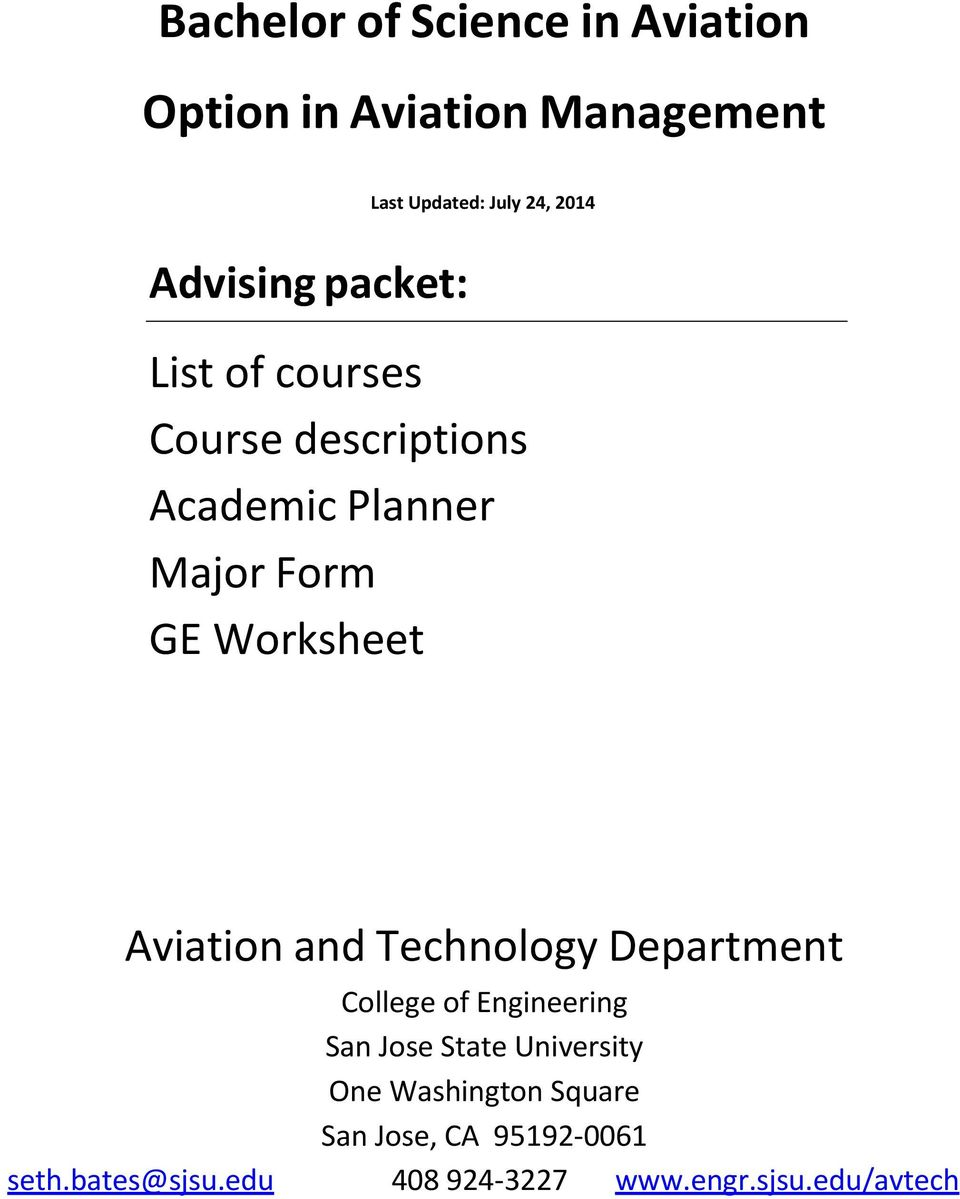 Worksheet Aviation and Technology Department College of Engineering San Jose State