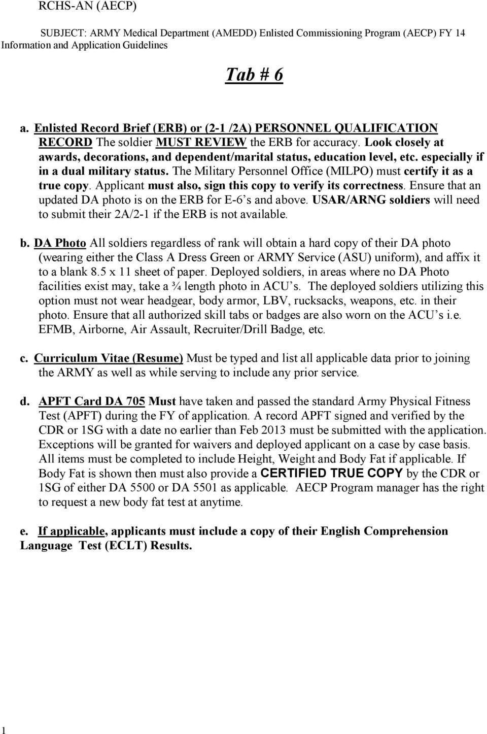 AMEDD Enlisted Commissioning Program Guidelines For ARMY Enlisted ...