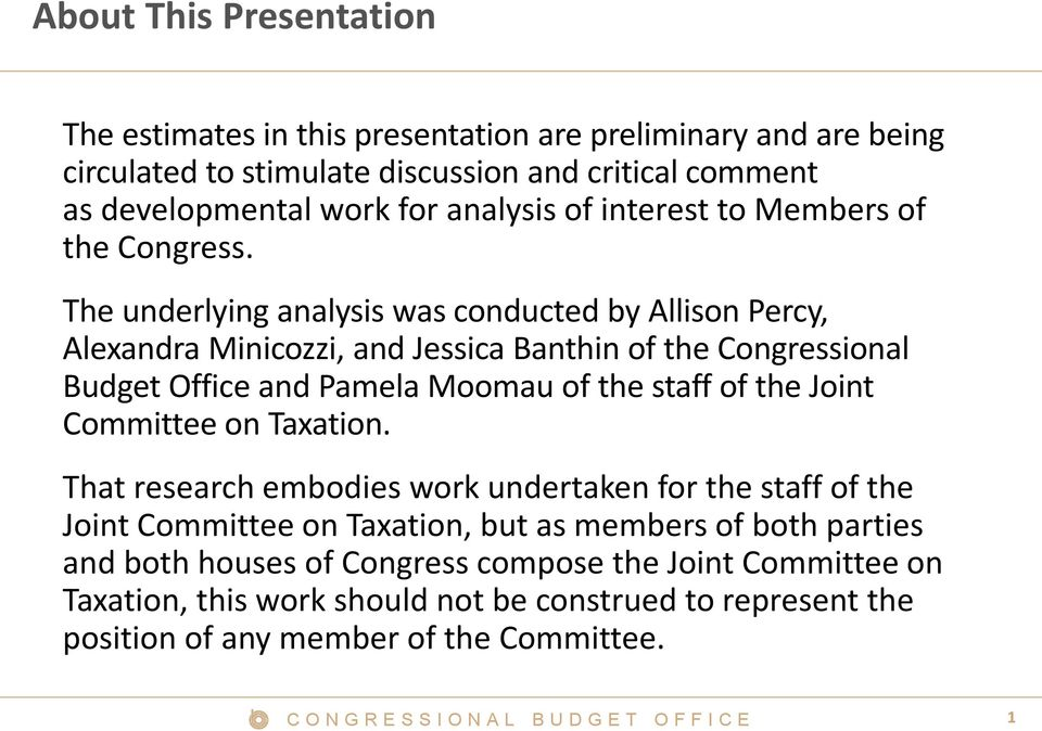 The underlying analysis was conducted by Allison Percy, Alexandra Minicozzi, and Jessica Banthin of the Congressional Budget Office and Pamela Moomau of the staff of the Joint