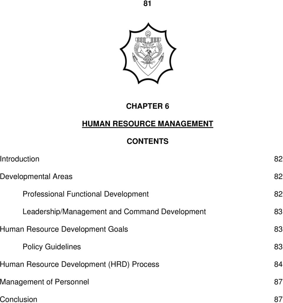 Command Development 83 Human Resource Development Goals 83 Policy Guidelines