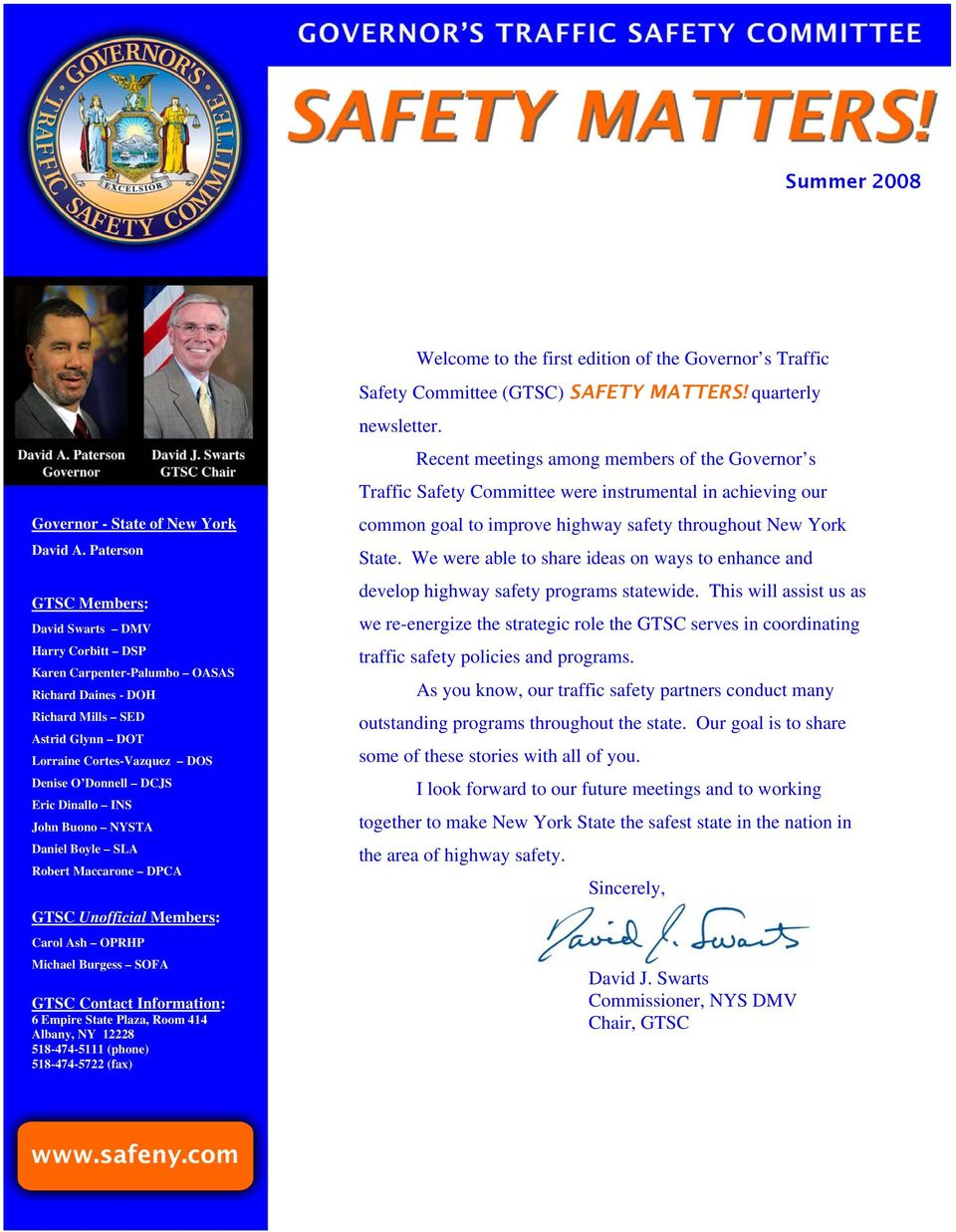 David J  Swarts Commissioner, NYS DMV Chair, GTSC - PDF