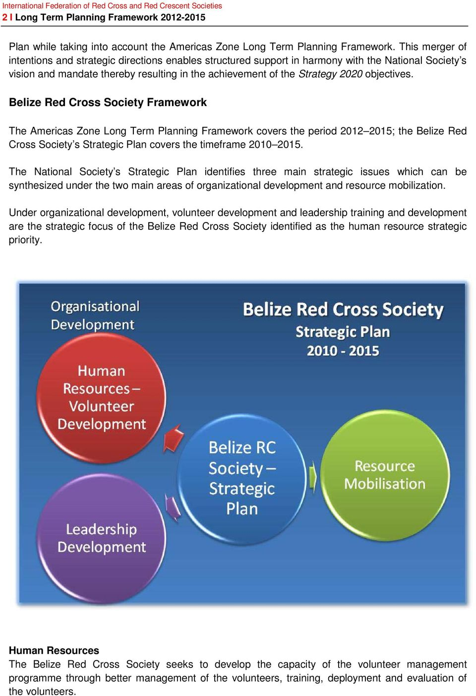 objectives. Belize Red Cross Society Framework The Americas Zone Long Term Planning Framework covers the period 2012 2015; the Belize Red Cross Society s Strategic Plan covers the timeframe 2010 2015.