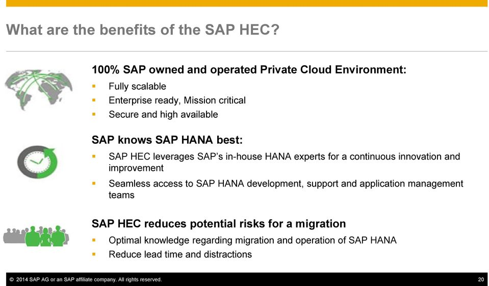 knows SAP best: SAP HEC leverages SAP s in-house experts for a continuous innovation and improvement Seamless access to SAP development,