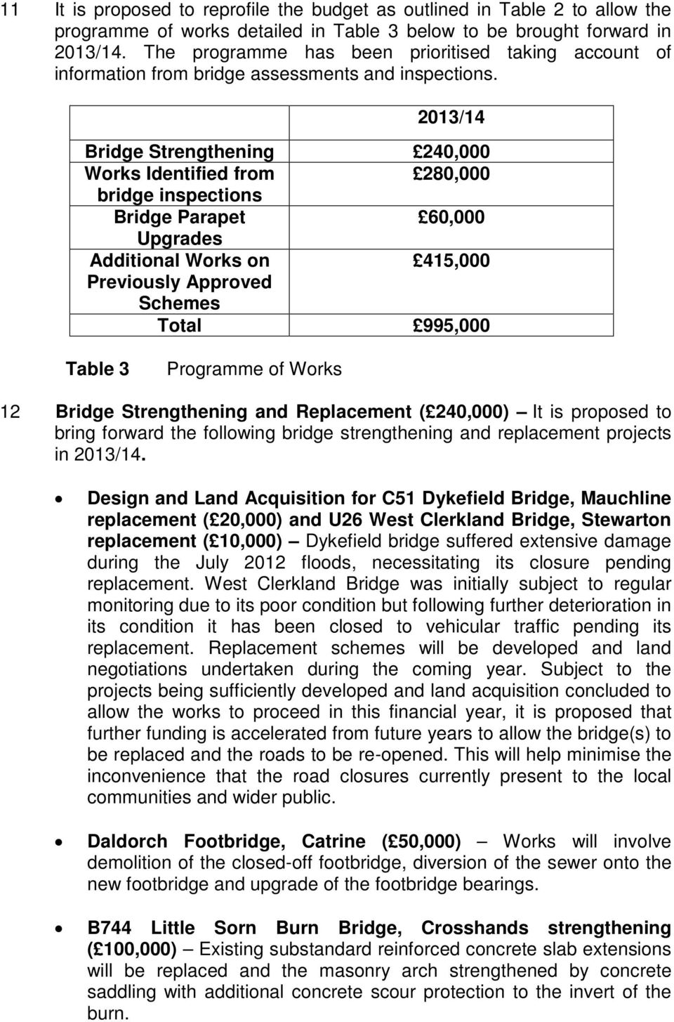 2013/14 Bridge Strengthening 240,000 Works Identified from 280,000 bridge inspections Bridge Parapet 60,000 Upgrades Additional Works on 415,000 Previously Approved Schemes Total 995,000 Table 3