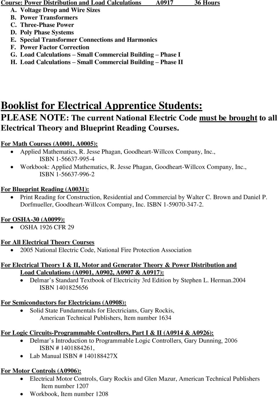 Load Calculations Small Commercial Building Phase II Booklist for Electrical Apprentice Students: PLEASE NOTE: The current National Electric Code must be brought to all Electrical Theory and