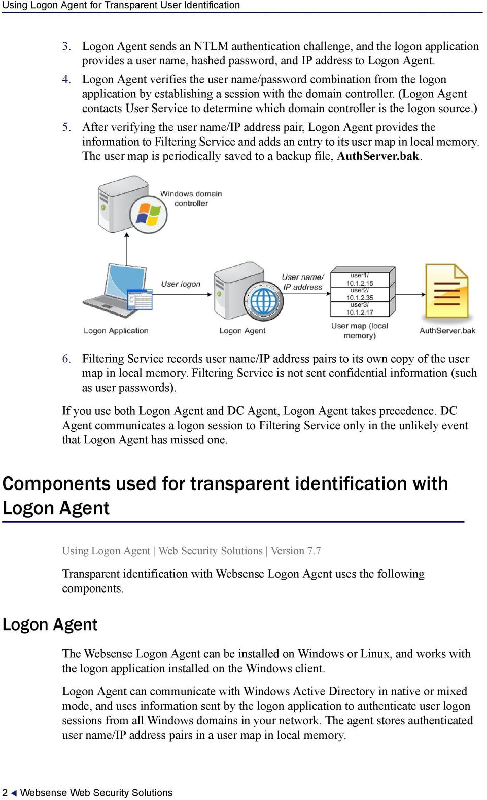 (Logon Agent contacts User Service to determine which domain controller is the logon source.) 5.