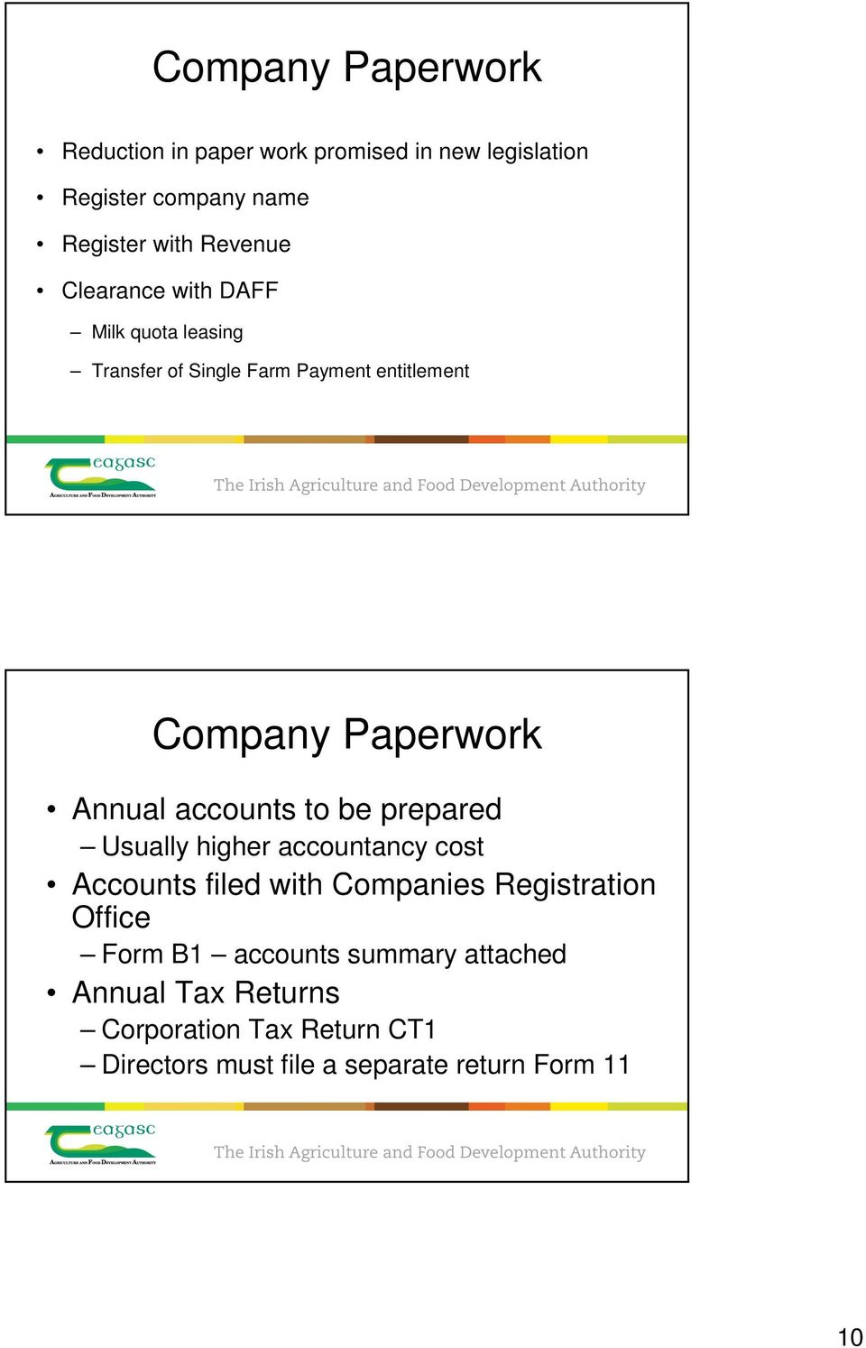 accounts to be prepared Usually higher accountancy cost Accounts filed with Companies Registration Office Form B1