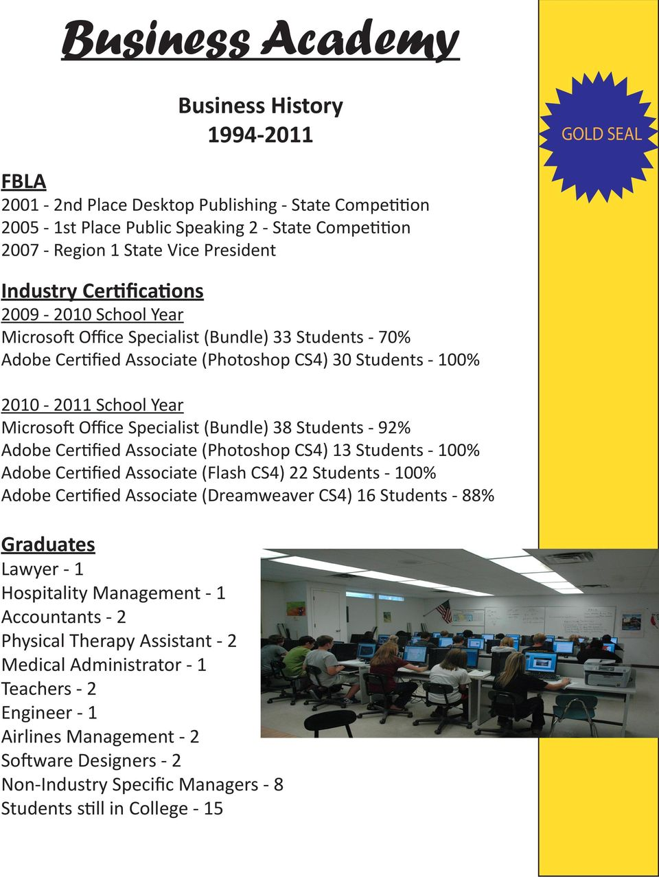 Office Specialist (Bundle) 38 Students - 92% Adobe Certified Associate (Photoshop CS4) 13 Students - 100% Adobe Certified Associate (Flash CS4) 22 Students - 100% Adobe Certified Associate