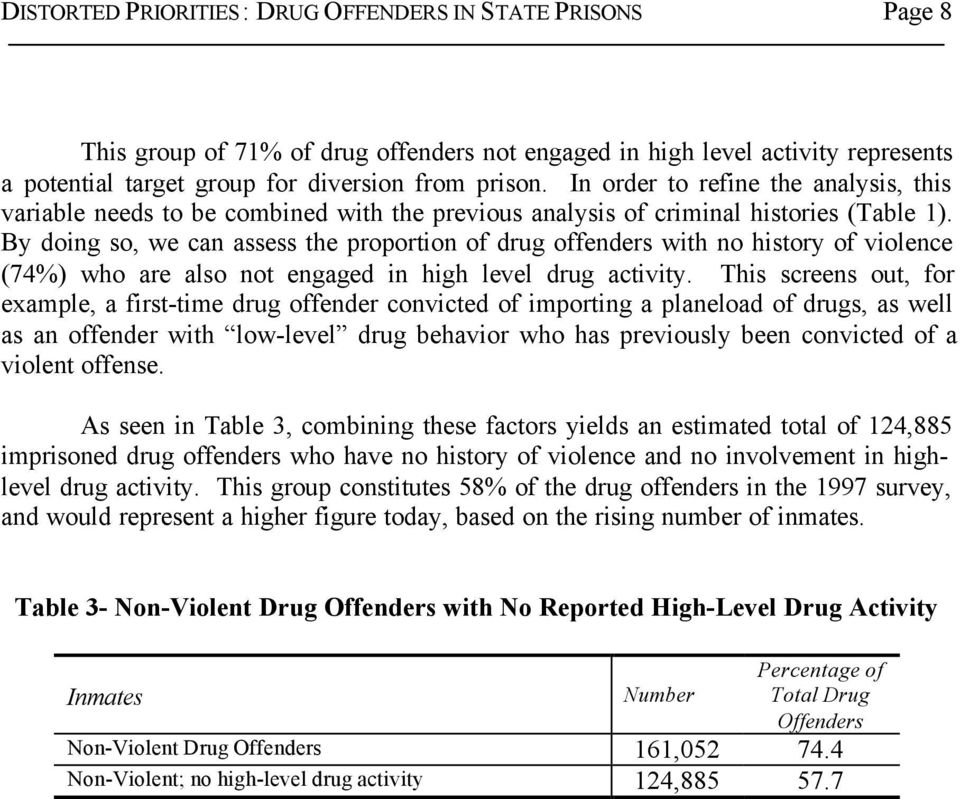 By doing so, we can assess the proportion of drug offenders with no history of violence (74%) who are also not engaged in high level drug activity.