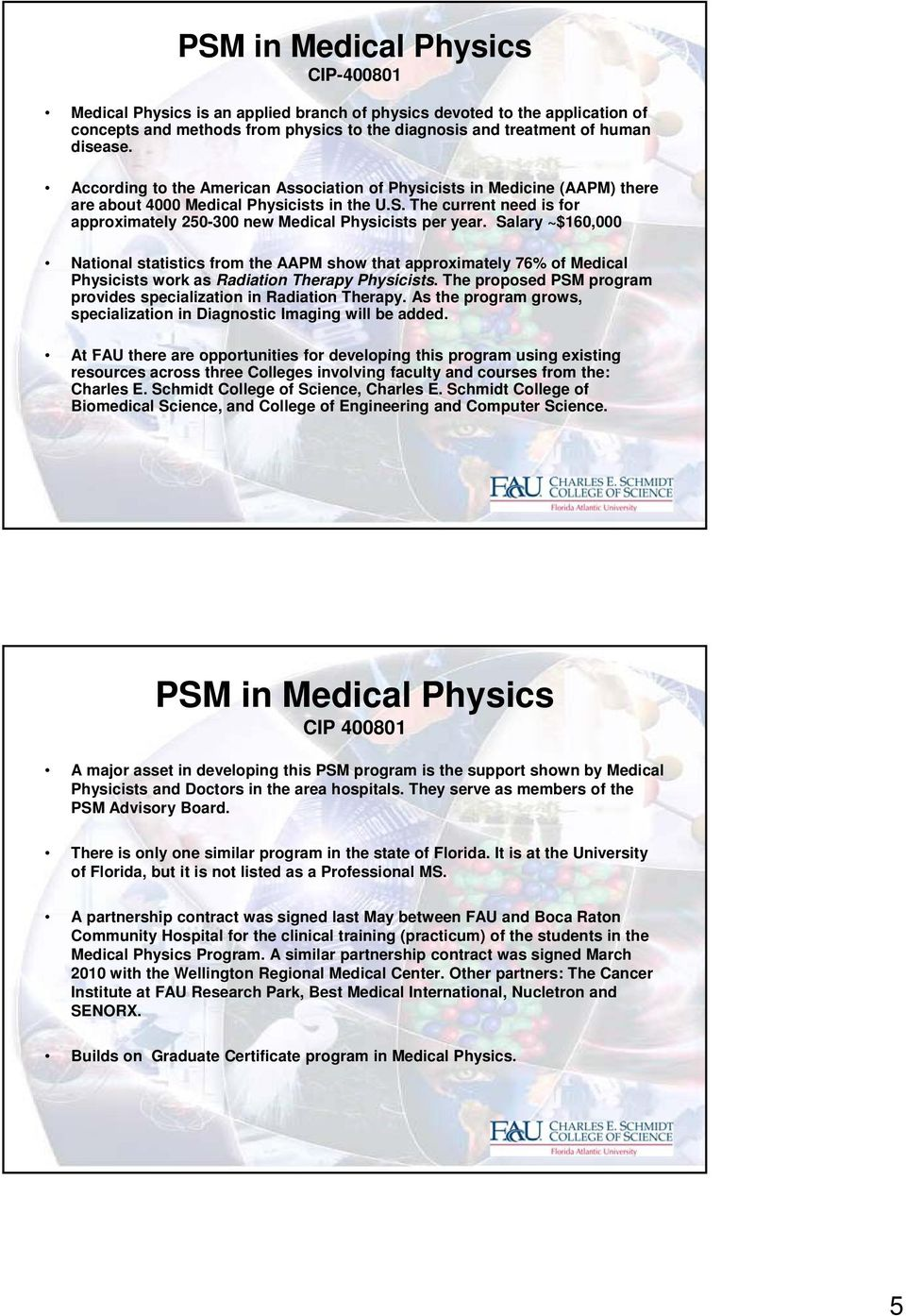 The current need is for approximately 250-300 new Medical Physicists per year.
