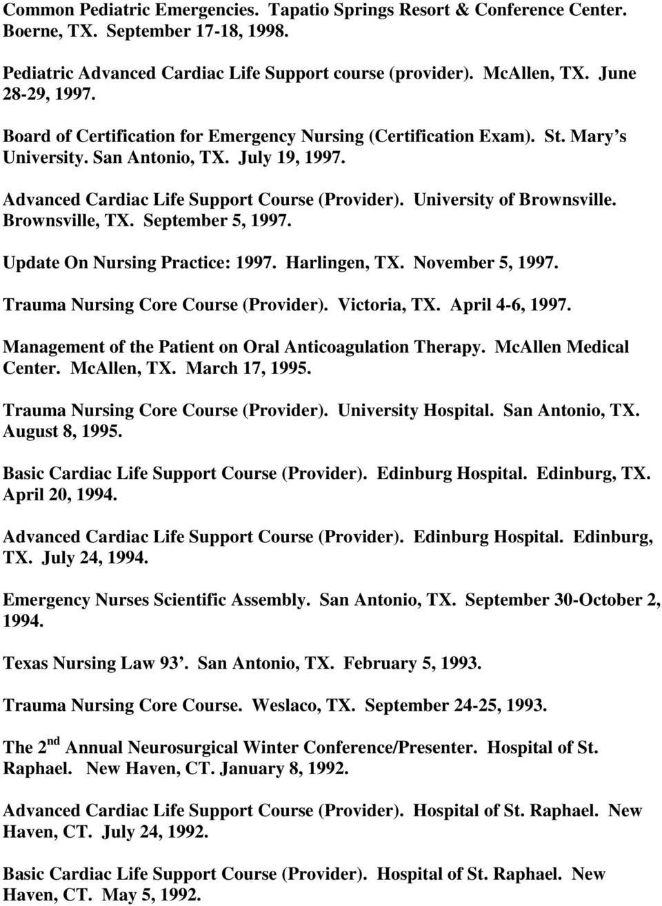 Brownsville, TX. September 5, 1997. Update On Nursing Practice: 1997. Harlingen, TX. November 5, 1997. Trauma Nursing Core Course (Provider). Victoria, TX. April 4-6, 1997.