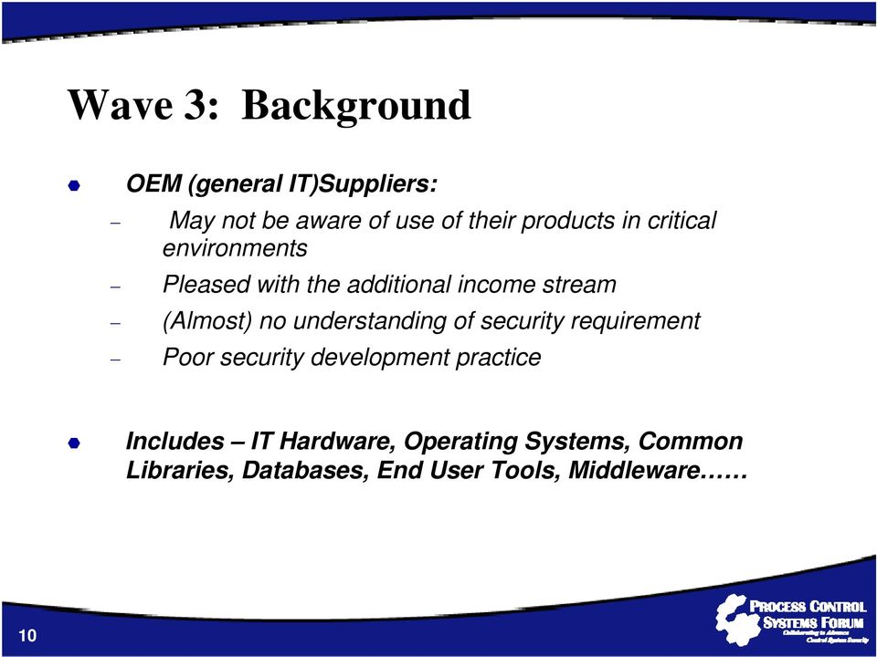 no understanding of security requirement Poor security development practice Includes