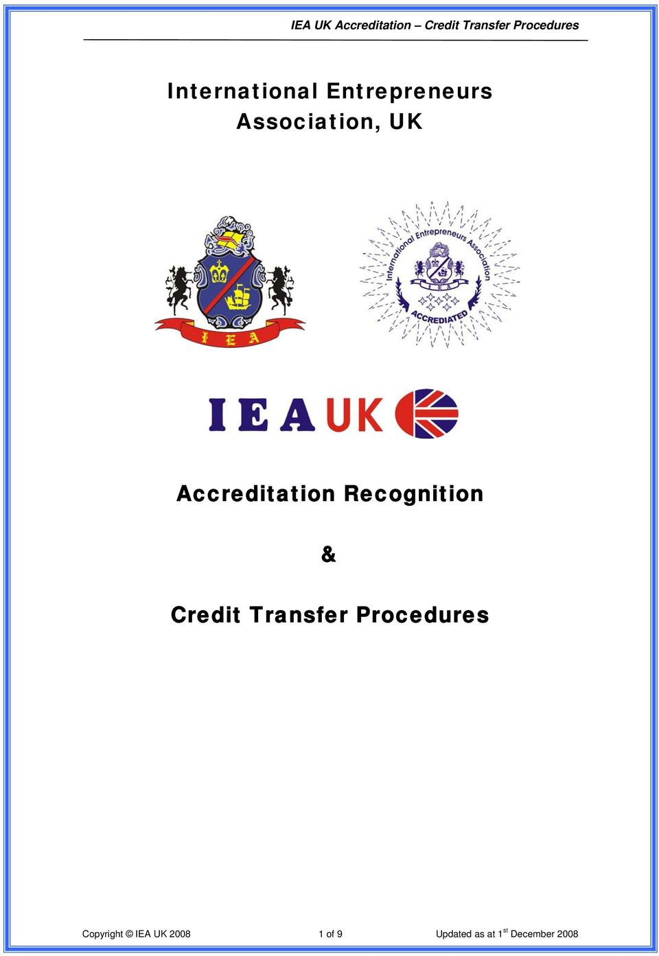Recognition & Credit Transfer