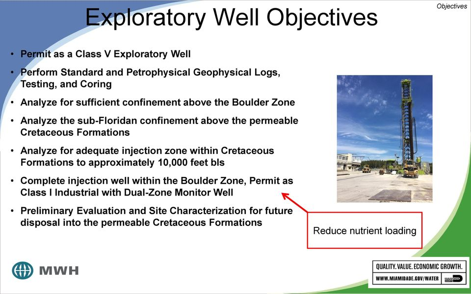 adequate injection zone within Cretaceous Formations to approximately 10,000 feet bls Complete injection well within the Boulder Zone, Permit as Class I