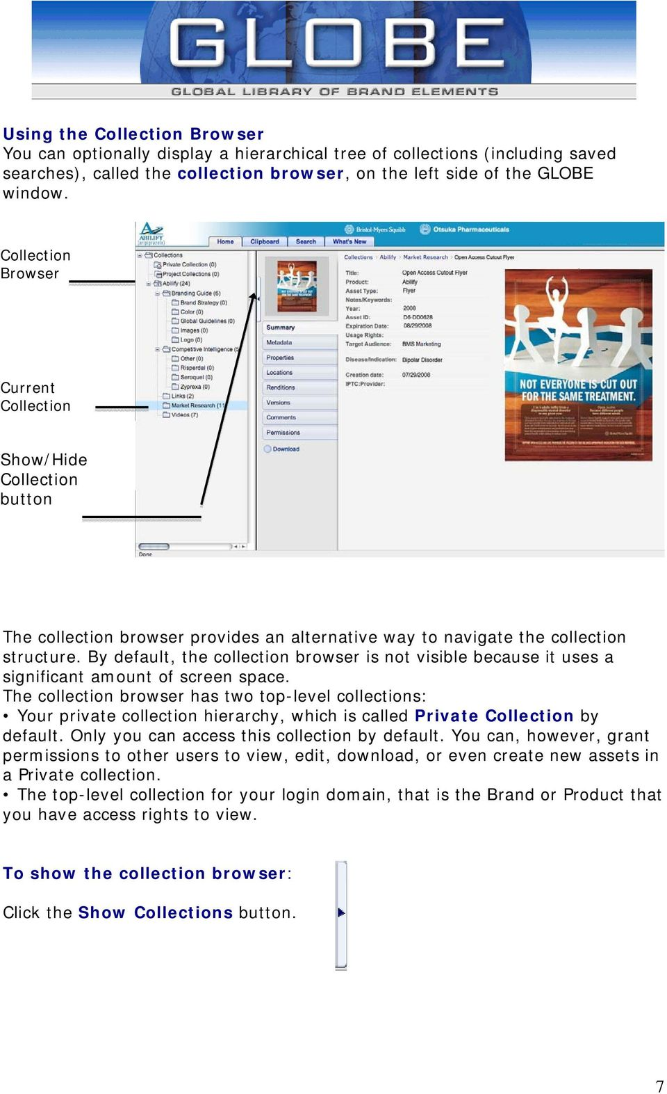 By default, the collection browser is not visible because it uses a significant amount of screen space.