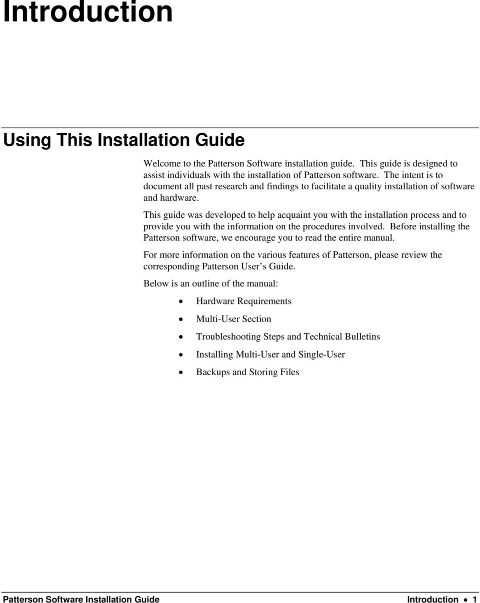 Patterson Software. Installation Guide - PDF