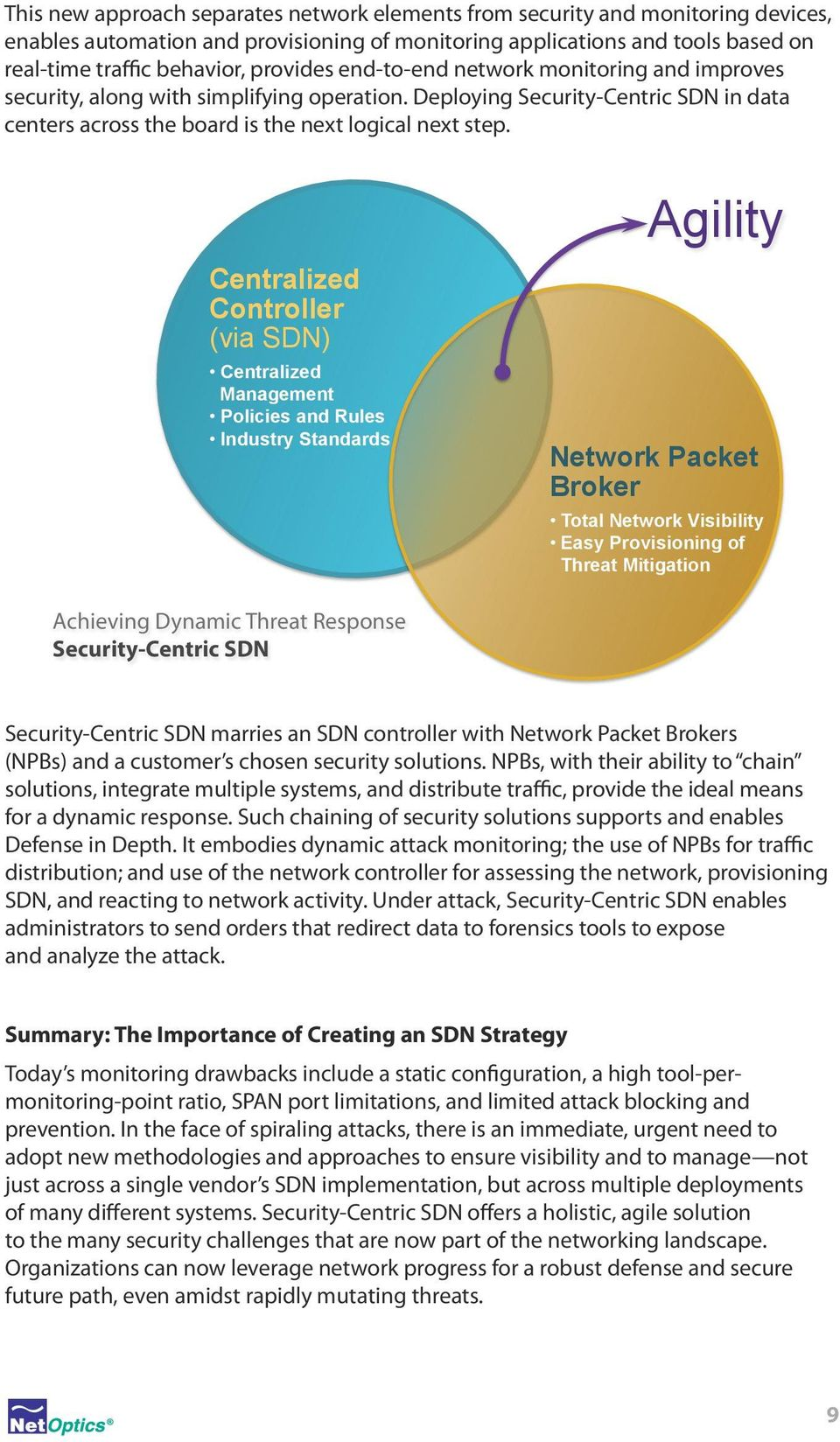Centralized Controller (via SDN) Centralized Management Policies and Rules Industry Standards Agility Network Packet Broker Total Network Visibility Easy Provisioning of Threat Mitigation Achieving