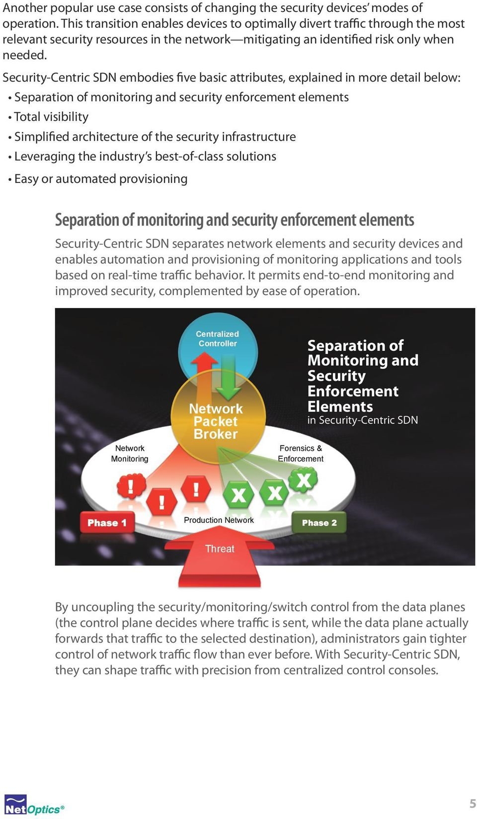 Security-Centric SDN embodies five basic attributes, explained in more detail below: Separation of monitoring and security enforcement elements Total visibility Simplified architecture of the