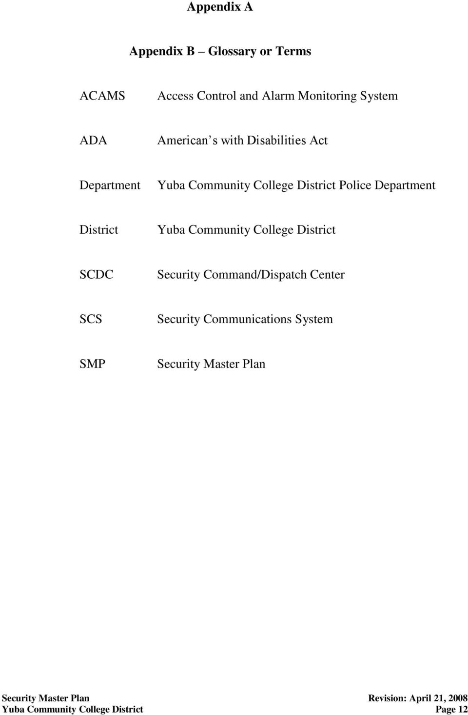 Department District Yuba Community College District SCDC Security Command/Dispatch Center