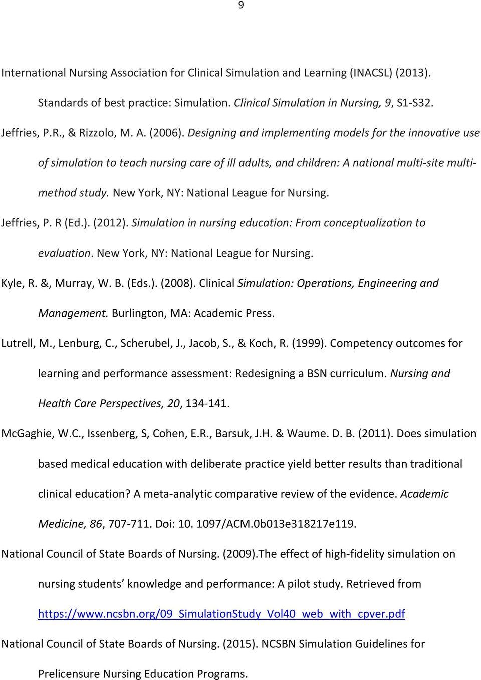 New York, NY: National League for Nursing. Jeffries, P. R (Ed.).(2012). Simulation in nursing education: From conceptualization to evaluation. New York, NY: National League for Nursing. Kyle, R.