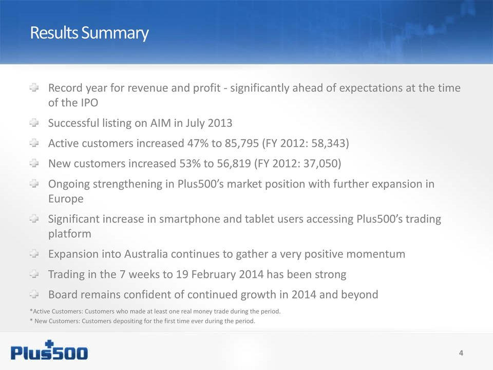 users accessing Plus500 s trading platform Expansion into Australia continues to gather a very positive momentum Trading in the 7 weeks to 19 February 2014 has been strong Board remains confident of