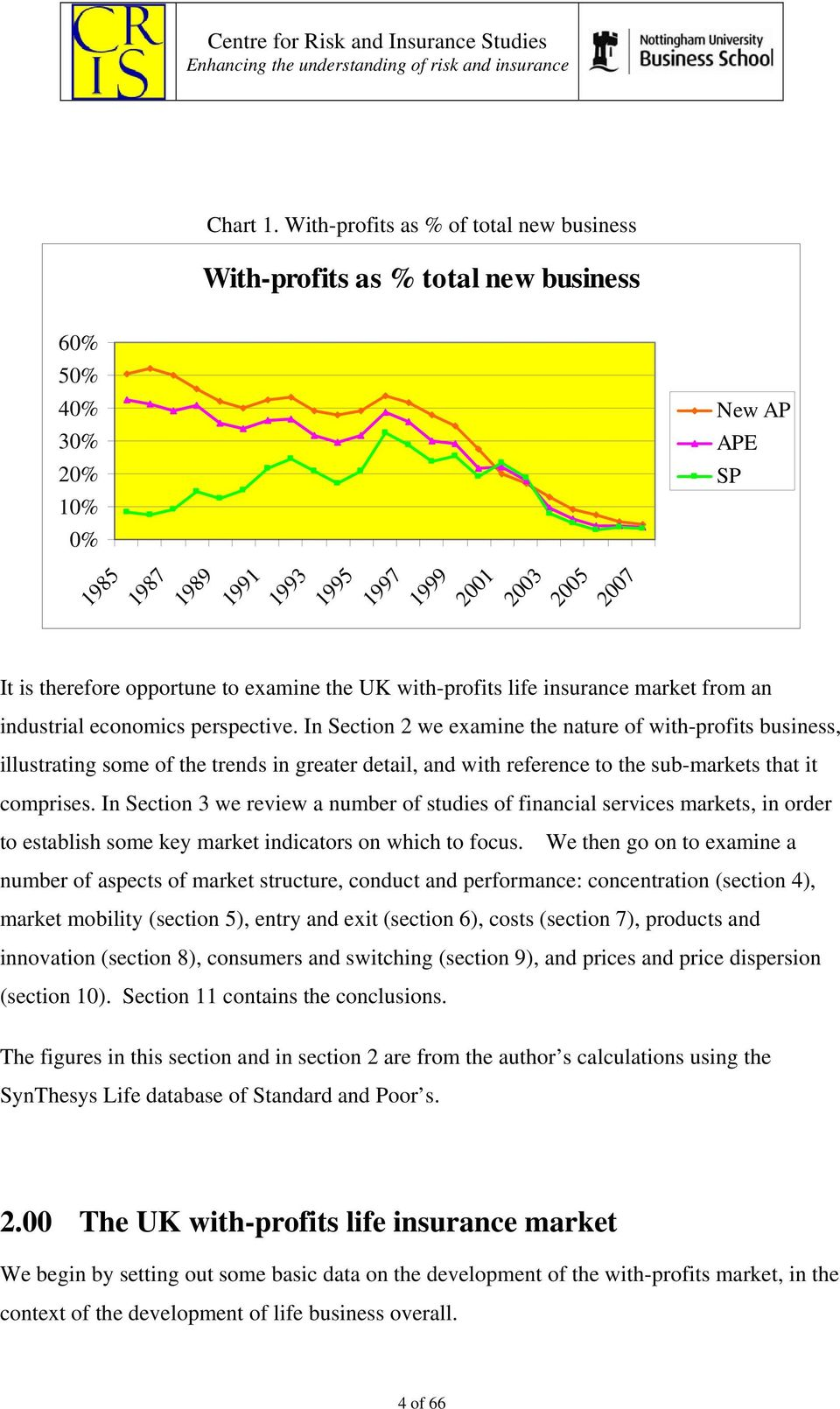 with-profits life insurance market from an industrial economics perspective.