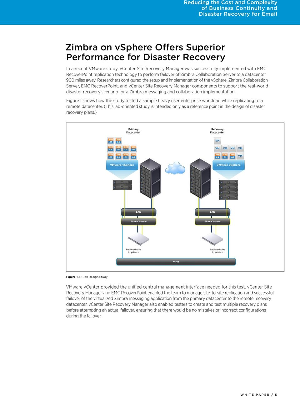 Researchers configured the setup and implementation of the vsphere, Zimbra Collaboration Server, EMC RecoverPoint, and vcenter Site Recovery Manager components to support the real-world disaster