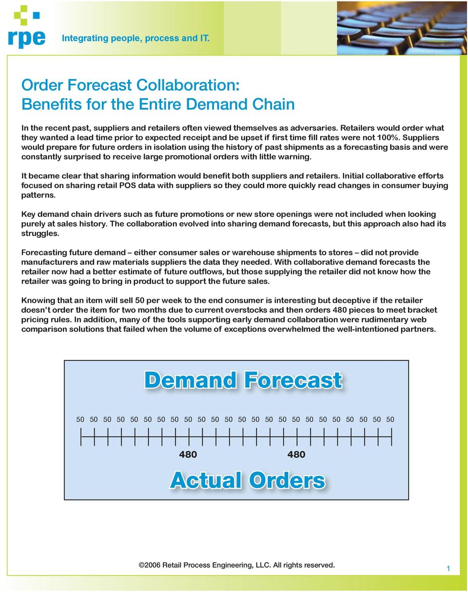 Suppliers would prepare for future orders in isolation using the history of past shipments as a forecasting basis and were constantly surprised to receive large promotional orders with little warning.