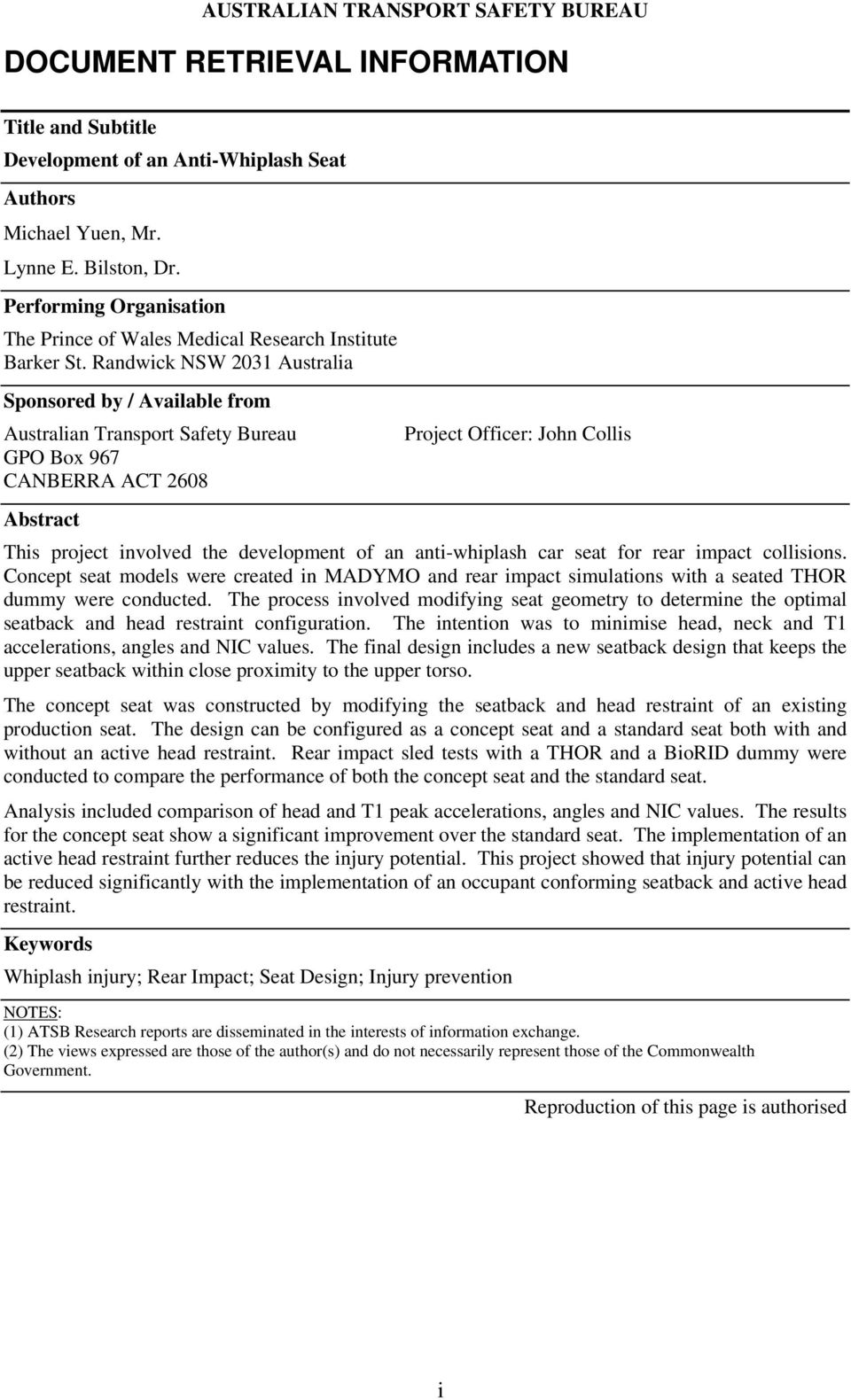 Randwick NSW 231 Australia Sponsored by / Available from Australian Transport Safety Bureau GPO Box 967 CANBERRA ACT 268 Project Officer: John Collis Abstract This project involved the development of