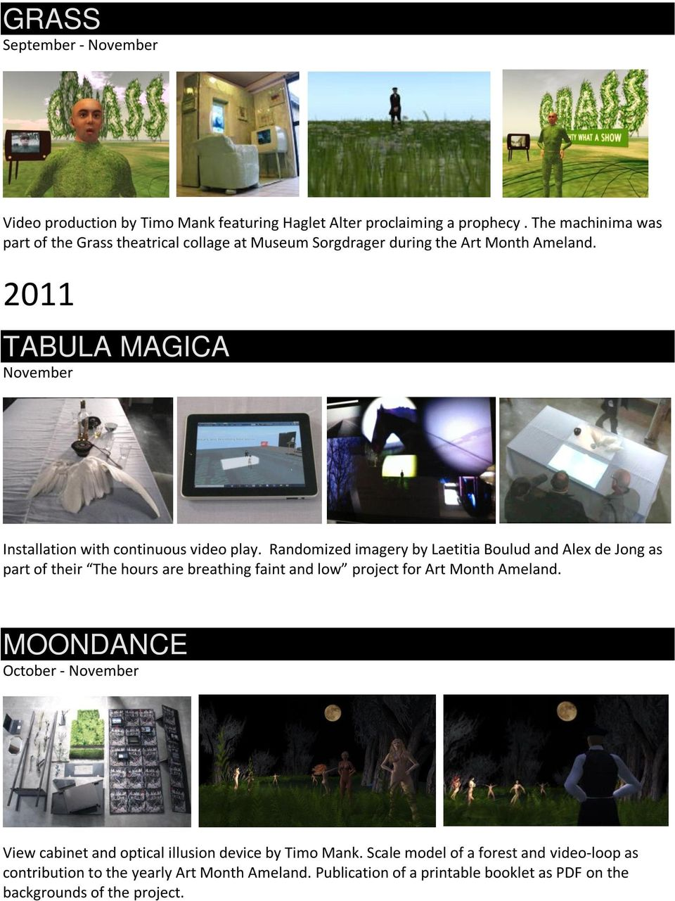 2011 TABULA MAGICA Installation with continuous video play.