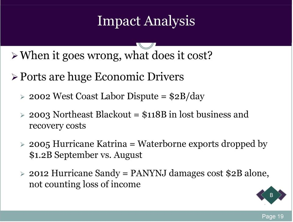 Blackout = $118B in lost business and recovery costs 2005 Hurricane Katrina = Waterborne