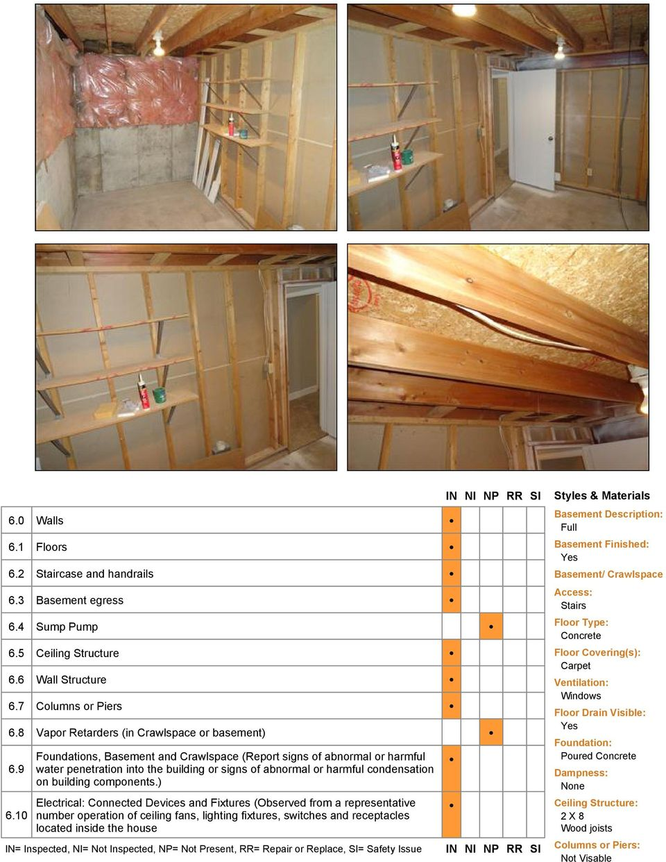 10 Foundations, Basement and Crawlspace (Report signs of abnormal or harmful water penetration into the building or signs of abnormal or harmful condensation on building components.