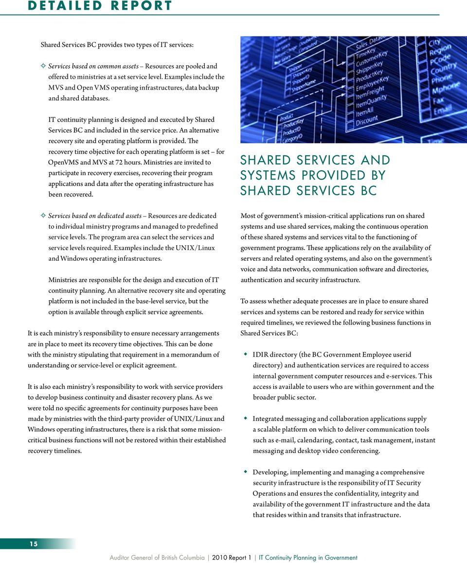 IT continuity planning is designed and executed by Shared Services BC and included in the service price. An alternative recovery site and operating platform is provided.