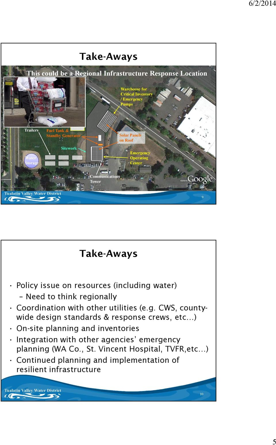 (including water) Need to think regionally Coordination with other utilities (e.g. CWS, countywide design standards & response crews, etc ) On-site planning and inventories Integration with other agencies emergency planning (WA Co.