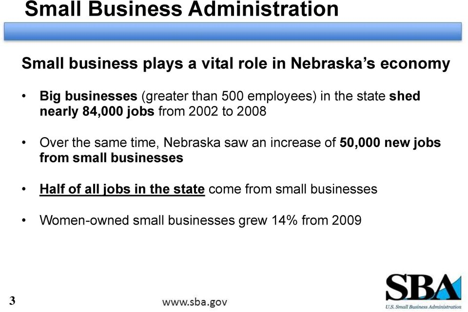 Over the same time, Nebraska saw an increase of 50,000 new jobs from small businesses Half of