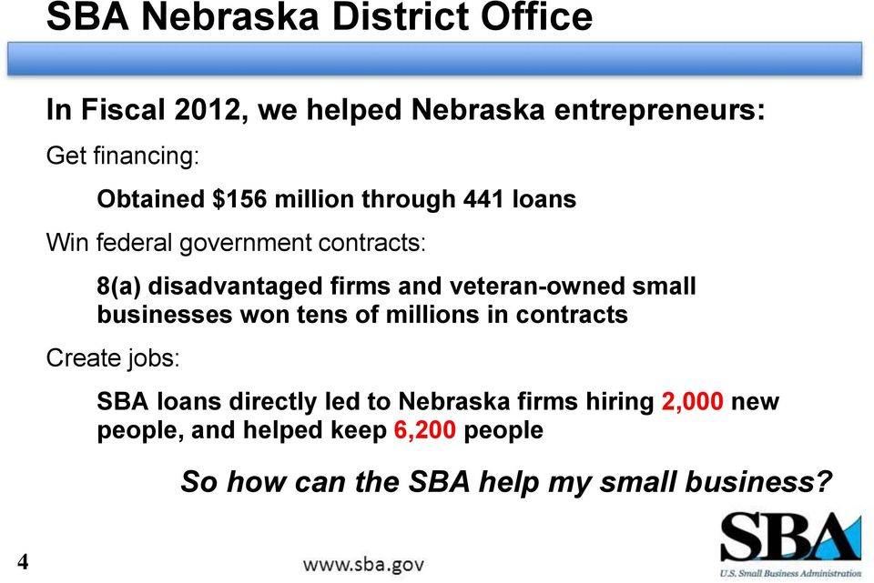 veteran-owned small businesses won tens of millions in contracts Create jobs: SBA loans directly led to