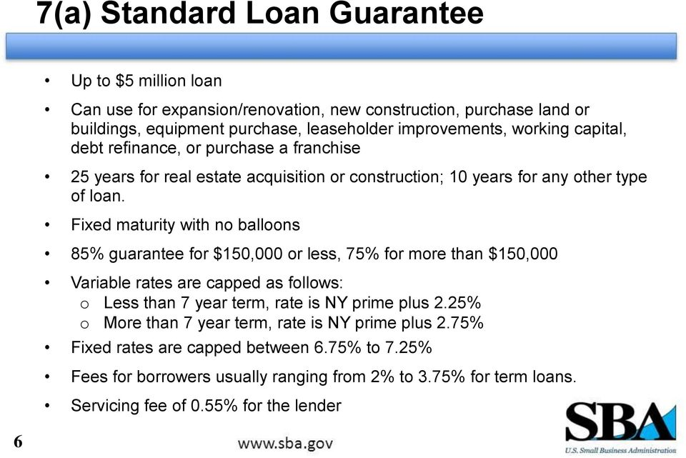 Fixed maturity with no balloons 85% guarantee for $150,000 or less, 75% for more than $150,000 Variable rates are capped as follows: o Less than 7 year term, rate is NY prime plus
