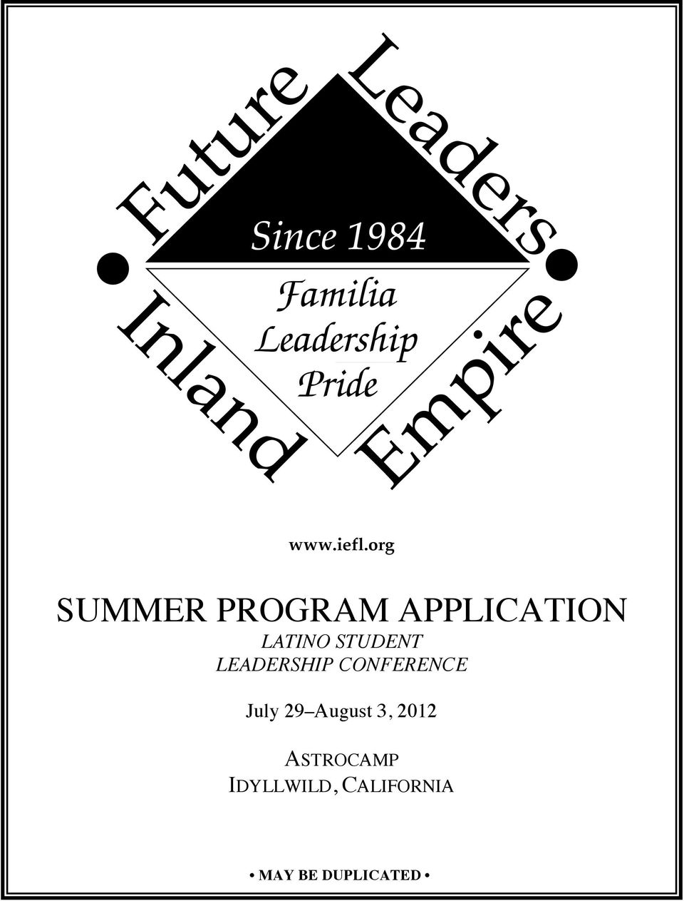 STUDENT LEADERSHIP CONFERENCE July 29