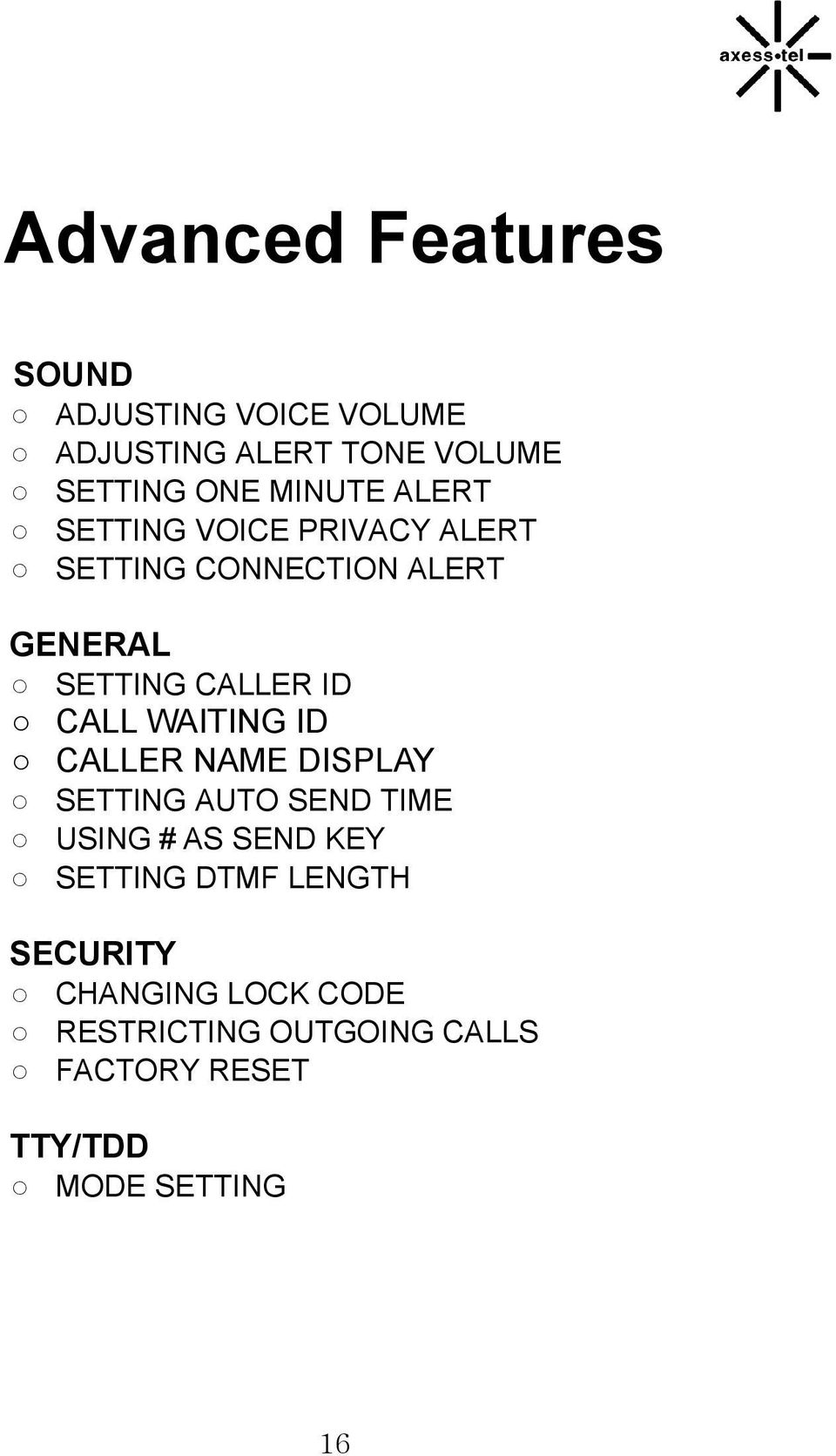 GENERAL SETTING CALLER ID CALL WAITING ID CALLER NAME DISPLAY SETTING AUTO SEND TIME USING #