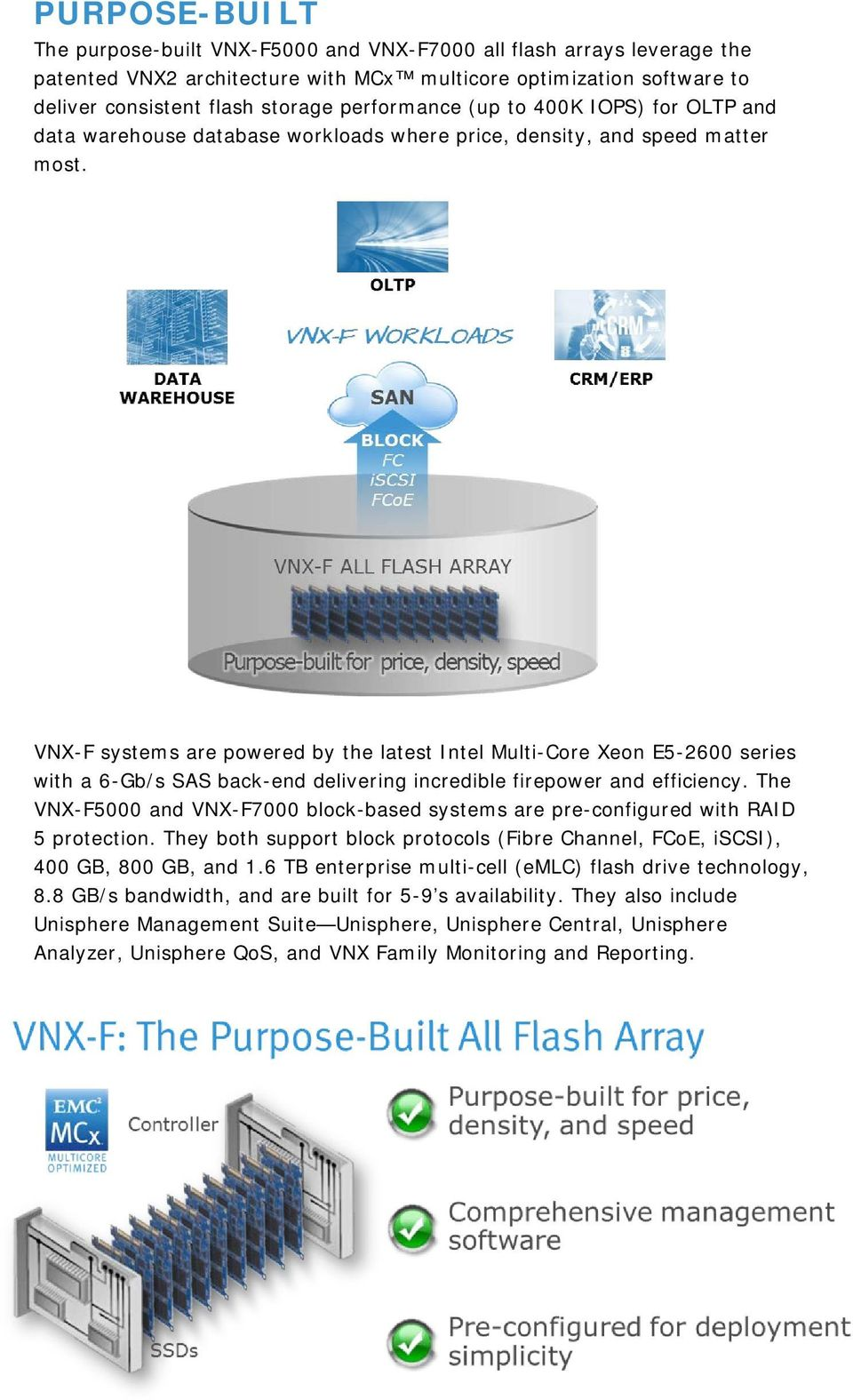 VNX-F systems are powered by the latest Intel Multi-Core Xeon E5-2600 series with a 6-Gb/s SAS back-end delivering incredible firepower and efficiency.