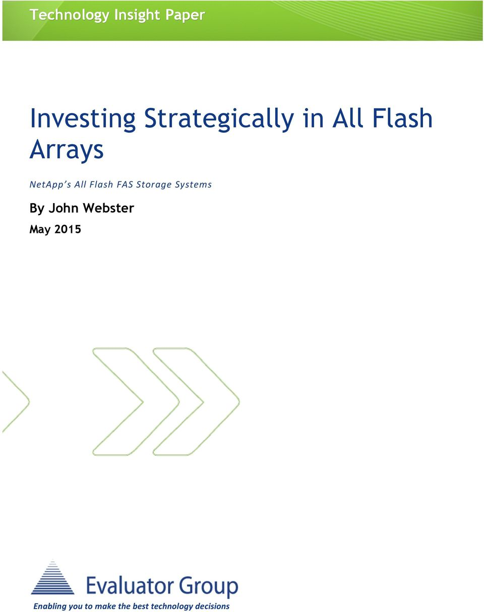 All Flash FAS Storage Systems By John Webster