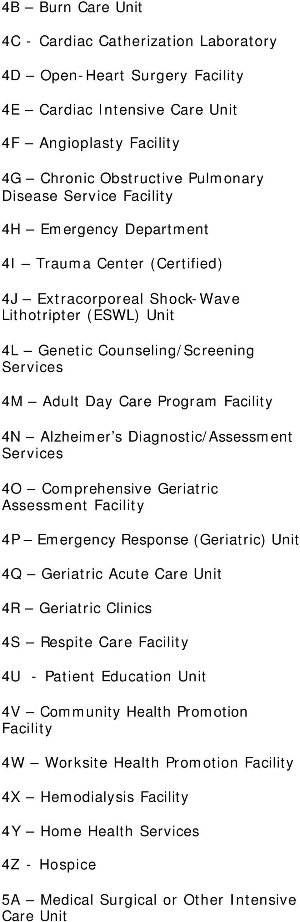 Alzheimer s Diagnostic/Assessment 4O Comprehensive Geriatric Assessment 4P Emergency Response (Geriatric) Unit 4Q Geriatric Acute Care Unit 4R Geriatric Clinics 4S Respite